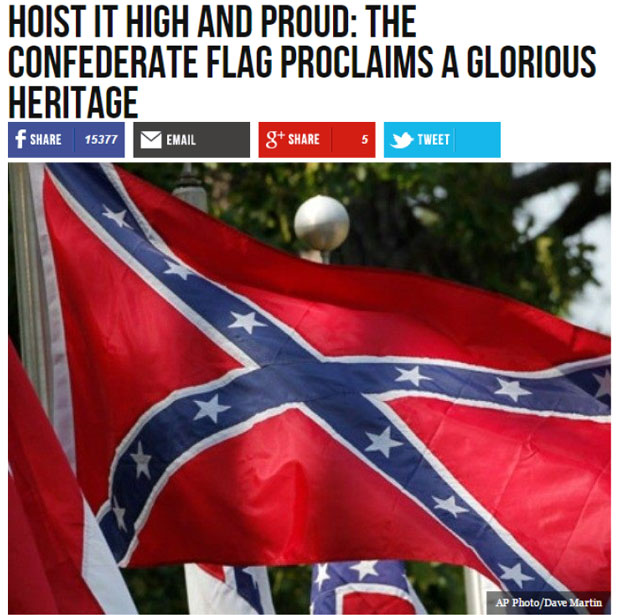 Headline and image of confederate flag from Breitbart news story praising the Confederacy