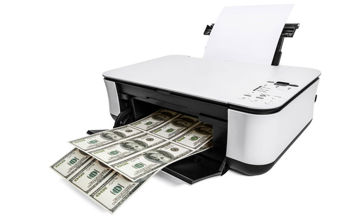 Desktop printer printing money