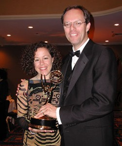 "Director Elizabeth Thompson & Composer/Audio Producer Spencer Critchley with the Emmy for the PBS documentary ""Blink."""