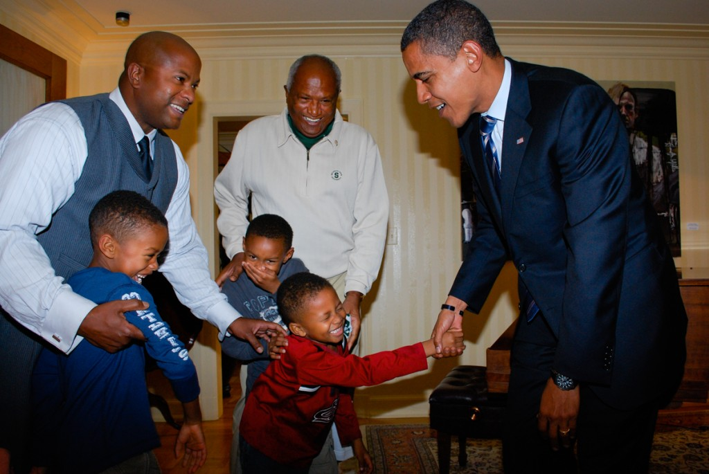 Barack Obama meets three little boys, Michigan State University, Oct. 2, 2008. Photo by Spencer Critchley for Obama for America.