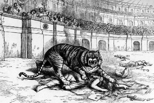 """What are you going to do about it?"" Thomas Nast cartoon showing Tammany Hall as a tiger consuming democracy."
