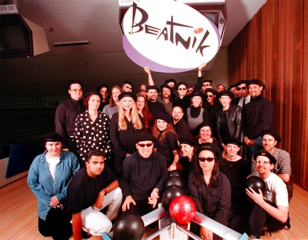 Thomas Dolby & the staff of Beatnik at the Holiday Party 1999