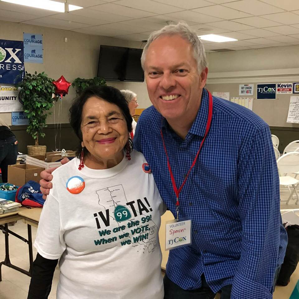 Dolores Huerta and Spencer Critchley at TJ Cox for Congress HQ, Fresno, CA, 2018