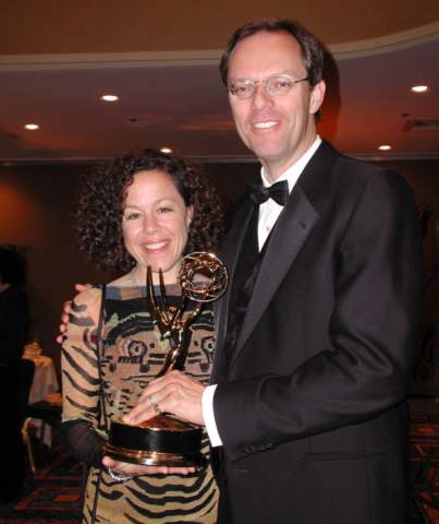 "Elizabeth Thompson & Spencer Critchley with Emmy Award for ""Blink"", 2001"