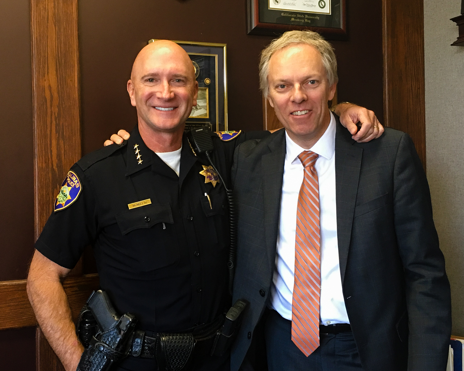 Salinas Police Chief Kelly McMillin, Spencer Critchley, 2017