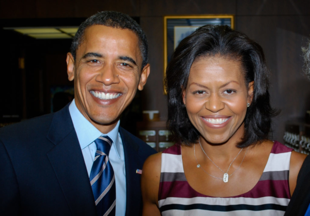 Barack and Michelle Obama, Detroit, 2008