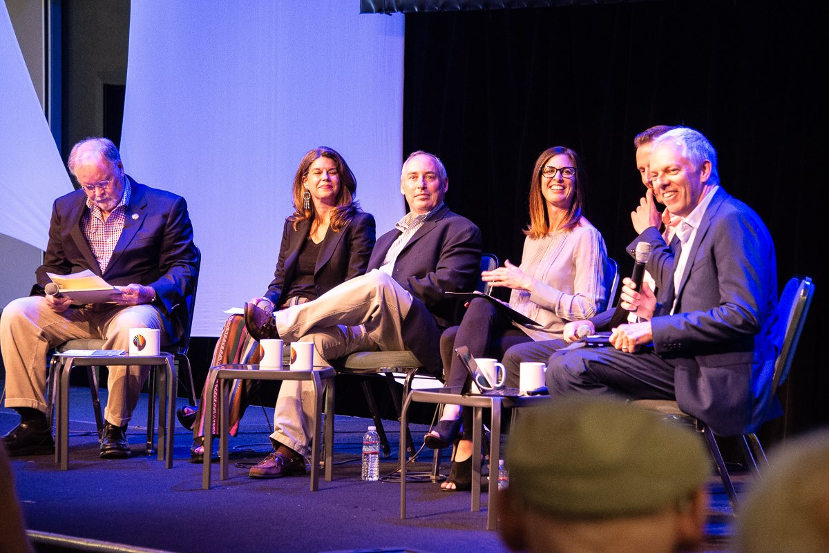 "Sam Farr, Debbie Mesloh, Dan Schnur, Kristin Olsen, Zach Friend and Spencer Critchley at ""Saving Democracy 2,"" Aptos, California, 2018"