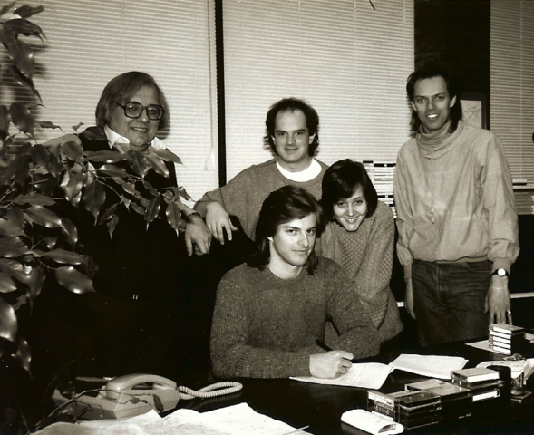 Aceboy signing with Warner-Chappell Music, 1985: Warner-Chappell's Jerry renewych, John Whynot, Owen Critchley (seated), Tamara Silvera, Spenjcer Critchley. Missing: Michael Spencer-Arscott.