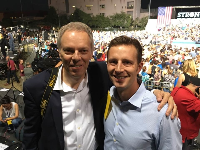 Spencer Critchley, Zach Friend at Hillary campaign event at Arizona State University, Tempe, AZ
