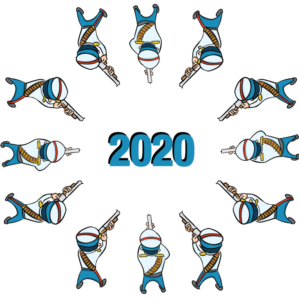 Illustration of a circular firing squad aiming at the year 2020.