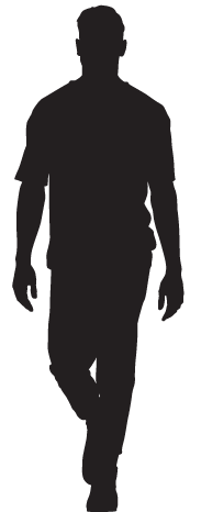 Silhouette of a walking man
