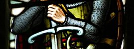 Stained glass window depicting William Wallace, at the Wallace Monument, Stirling, Scotland