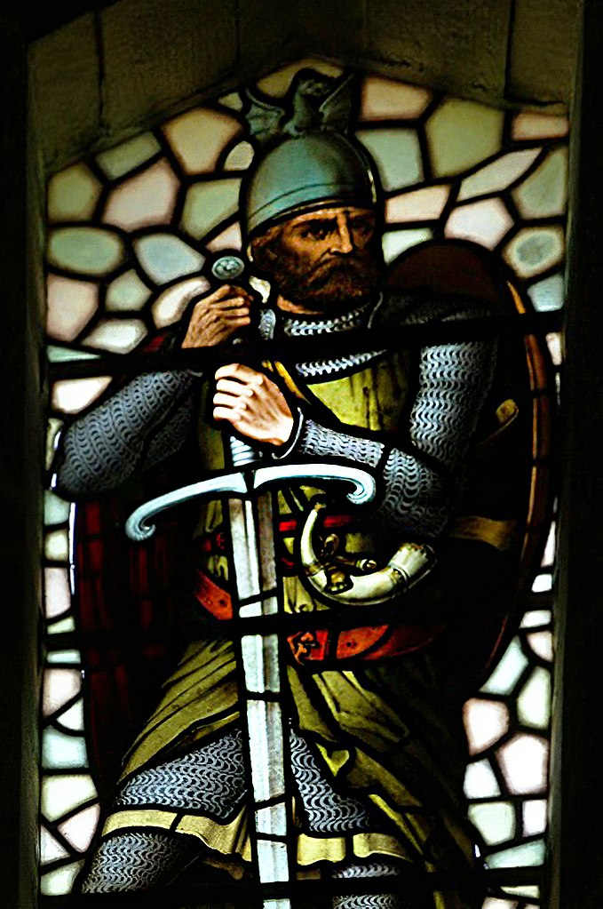 Stained glass window depicting WIlliam Wallace at the Wallace Monument, Stirling, Scotland via Otter / CC BY-SA (http://creativecommons.org/licenses/by-sa/3.0/)