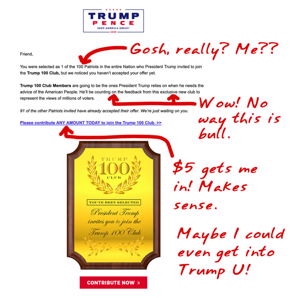 Trump-Pence campaign fund-raising email promising membership in an exclusive club of 100 Patriots who will supposedly advise Trump.